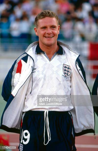 07 July 1990 Football World Cup Italy v England The suspended Paul Gascoigne looking relaxed in his full kit and track suit top