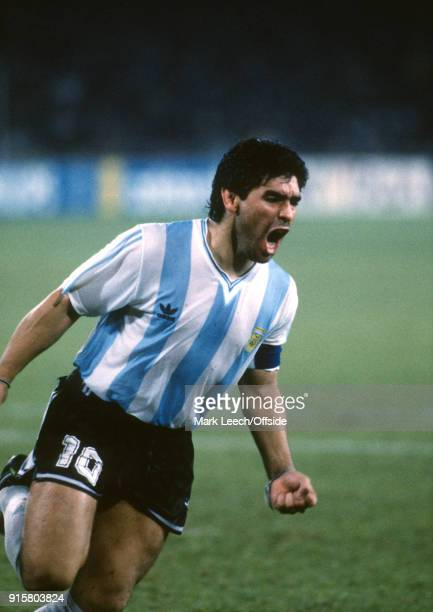 03 July 1990 Naples FIFA World Cup semi final Italy v Argentina Diego Maradona of Argentina celebrates