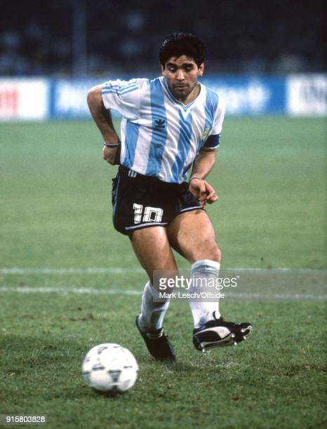 03 July 1990 Naples FIFA World Cup semi final Italy v Argentina Diego Maradona of Argentina scores during the penalty shootout