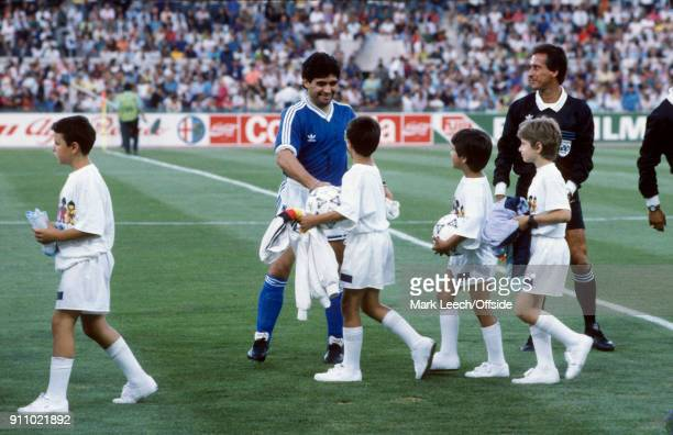 FIFA World Cup Final Argentina v West Germany Diego Maradona of Argentina greets the mascots
