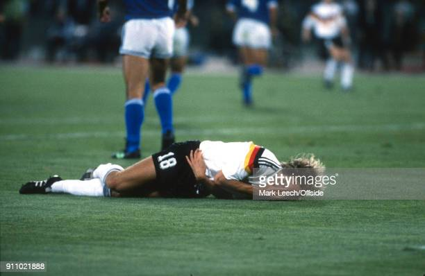 FIFA World Cup Final Argentina v West Germany Jurgen Klinsmann of Germany lies on the floor