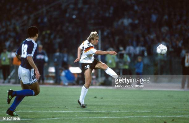 FIFA World Cup Final Argentina v West Germany Jurgen Klinsmann of Germany shoots