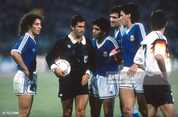 FIFA World Cup Final Argentina v West Germany referee CODESAL MENDEZ Edgardo is confronted by Argentinian players including captain Diego Maradona...
