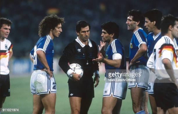 FIFA World Cup Final Argentina v West Germany referee CODESAL MENDEZ Edgardo is confronted by Argentina captain Diego Maradona and Pedro TROGLIO