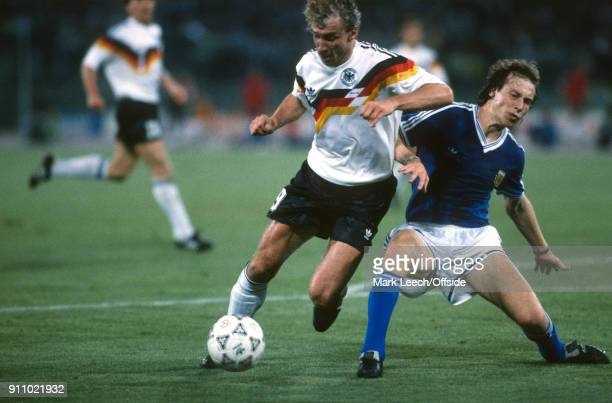 FIFA World Cup Final Argentina v West Germany Rudi Voeller of Germany is fouled by Roberto Sensi of Argentina leading to the decisive penalty kick