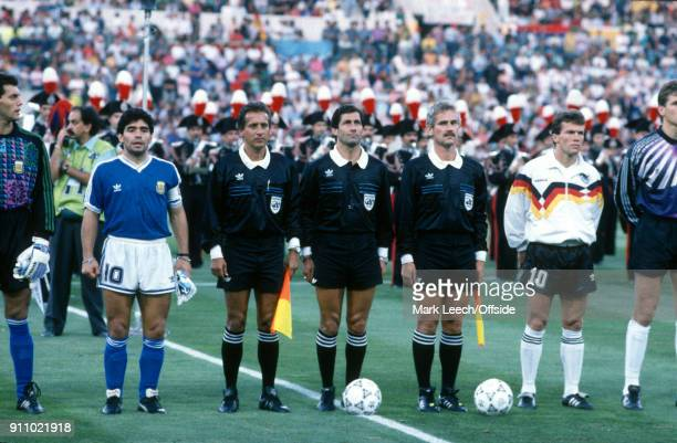 FIFA World Cup Final Argentina v West Germany the match officials line up with captains Diego Maradona and Lothar Matthaus