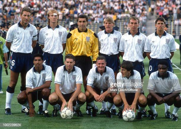 July 1990 - Turin - FIFA World Cup semi-final - West Germany v England - the English team pose for a group photo: back row Terry Butcher, Mark...