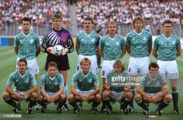 4 July 1990 West Germany v England FIFA World Cup SemiFinal Stadio delle Alpi The West Germany team before the match