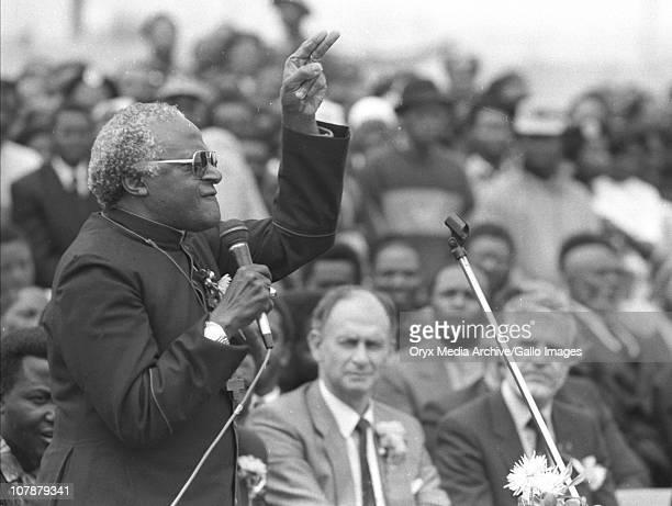Archbishop Desmond Tutu speaking at Michael Mapongwana's funeral Guguletu Michael Mapongwana was a prominent ANC community leader assassinated on 8...