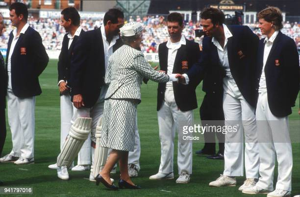31 July 1991 Kennington Oval County Cricket Championship Surrey v Essex Her Majesty The Queen is introduced to Derek Pringle by Essex captain Graham...