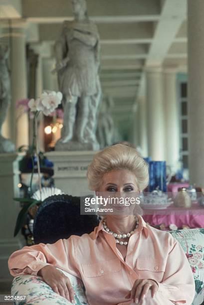 Lily Safra wife of Lebanese born banker Edmond Safra at home in La Leopolda Southern France