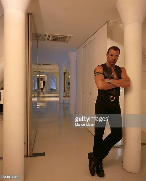 July 1993 the couturier Thierry MUGLER in his studio creation the top floor of his building Rue aux Ours in Paris He wears a leather vest and a...