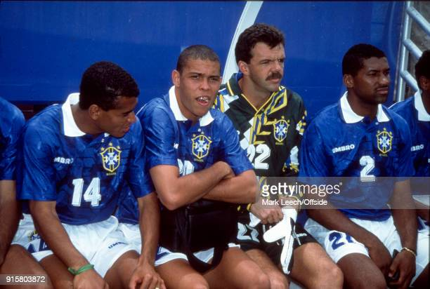 Fifa World Cup Brazil v Netherlands Seventeen year old Ronaldo sitting on the Brazilian substitutes bench with Cafu goalkeeper GILMAR Rinaldi and...