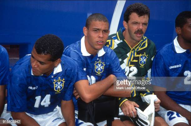 Fifa World Cup Brazil v Netherlands Seventeen year old Ronaldo sitting on the Brazilian substitutes bench with Cafu and goalkeeper GILMAR Rinaldi