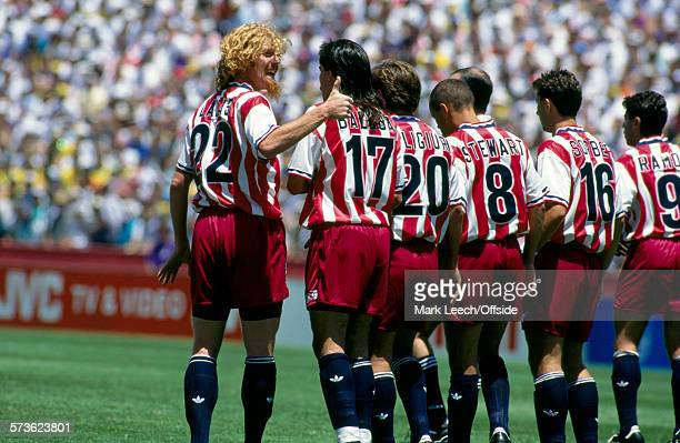 04 July 1994 Fifa World Cup Brazil v USA Alexi Lalas of USA lines up the wall