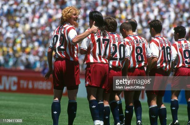 4 July 1994 FIFA World Cup Stanford Brazil v USA Alexi Lalas of USA organizes the wall Marceloa Balboa Paul Caligiuri Earnie Stewart Mike Sorber Tab...