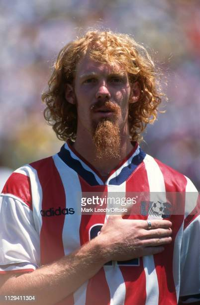 4 July 1994 FIFA World Cup Stanford Brazil v USA Alexi Lalas of USA