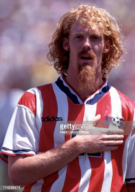 4 July 1994 Football World Cup 1994 Brazil v USA Alexi Lalas lines up for the national anthem
