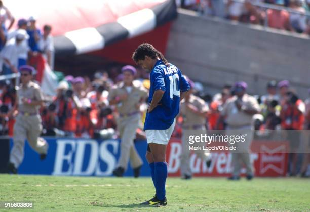 FIFA World Cup Final Brazil v Italy Roberto Baggio of Italy hangs his head after missing the vital penalty during the shootout