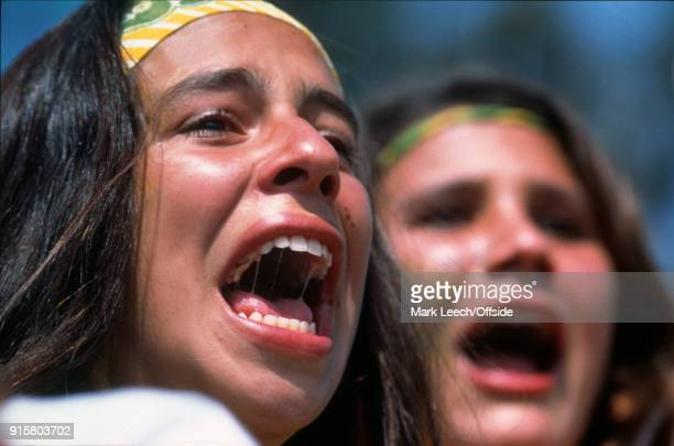FIFA World Cup Final Brazil v Italy young female Brazilian supporters show the tension on their faces during the penalty shoot out