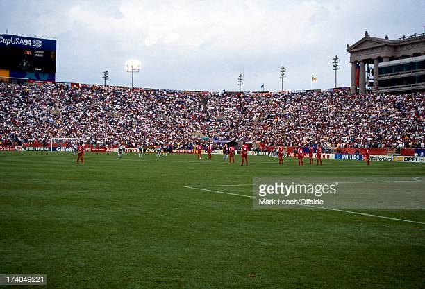 02 July 1994 World Cup 1994 USA Germany v Belgium The two teams line up for a minute silence in memory of Andreas Escobar