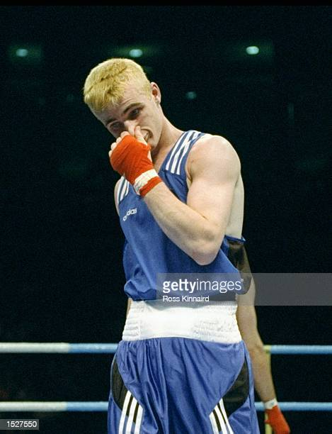 David Burke of Great Britain loses to Falk Huste of Germany at Alexander Memorial Coliseum of Georgia Tech University at the 1996 Centennial Olympic...