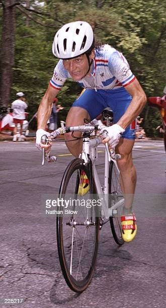 Jeannie Longo Ciprelli of France wins the womens road race with a time of 23613 at the 1996 Centennial Olympic Games in Atlanta Georgia Mandatory...