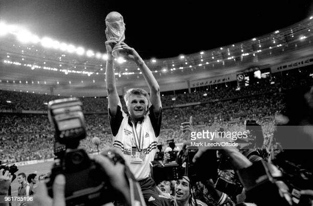 12 July 1998 FIFA World Cup Final France v Brazil French coach Aime Jacquet holds aloft the trophy