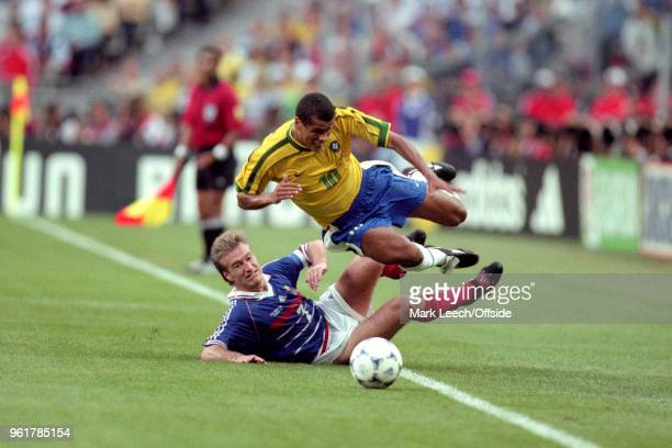 12 July 1998 FIFA World Cup Final France v Brazil Rivaldo of Brazil is fouled by Didier Deschamps of France