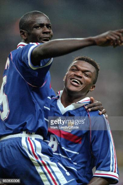 08 July 1998 FIFA World Cup France v Croatia Lilian Thuram is lifted by Marcel Desailly as France celebrate reaching the final