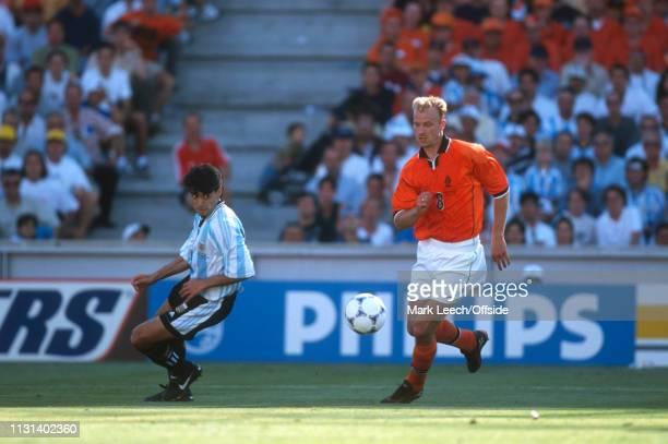 4 July 1998 FIFA World Cup Quarter Final Stade Veldorome Netherlands v Argentina Dennis Bergkamp of the Netherlands
