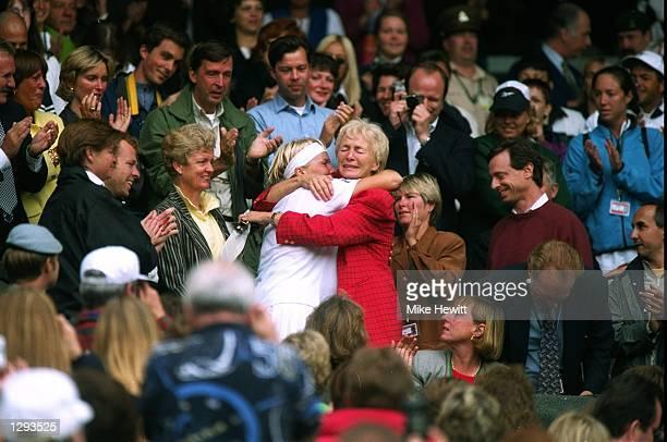 Jana Novotna of Czech Republic kisses her mother during the 1998 Wimbledon Championships played at Wimbledon, London, England. \ Mandatory Credit:...