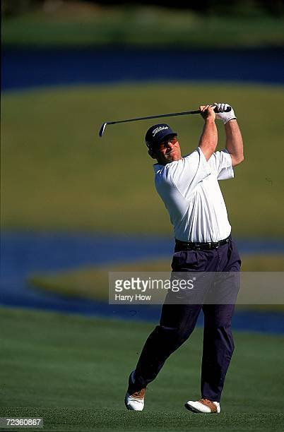 Brett Hull watches the ball after hitting it during the Celebrity Golf Campionships at the Edgewood Tahoe Golf Course in Stateline Nevada Mandatory...
