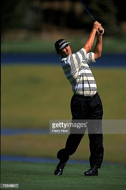 Chris Chandler watches the ball after hitting it during the Celebrity Golf Campionships at the Edgewood Tahoe Golf Course in Stateline Nevada...
