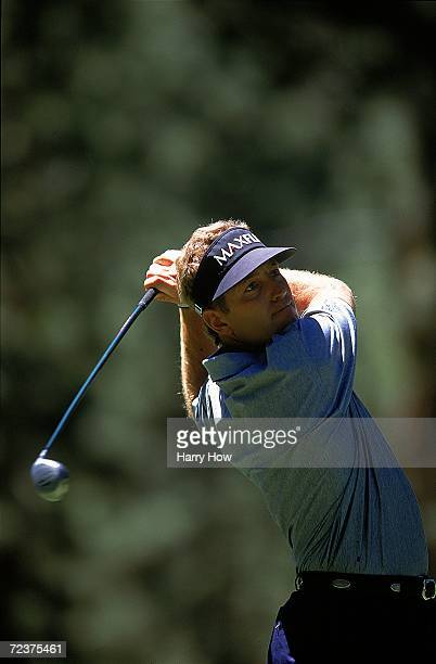 Dan Quinn watches the ball after hitting it during the Celebrity Golf Campionships at the Edgewood Tahoe Golf Course in Stateline Nevada Mandatory...