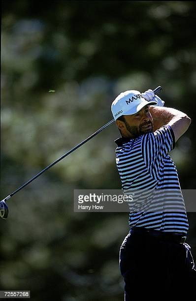 Grant Fuhr watches the ball after hitting it during the Celebrity Golf Campionships at the Edgewood Tahoe Golf Course in Stateline Nevada Mandatory...