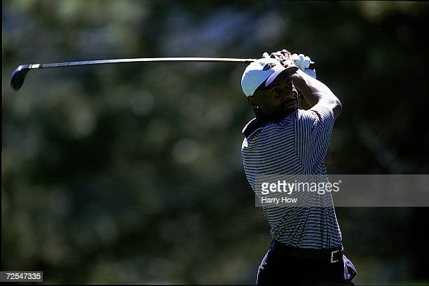 Jerry Rice watches the ball after hitting it during the Celebrity Golf Campionships at the Edgewood Tahoe Golf Course in Stateline Nevada Mandatory...