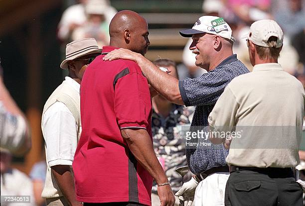 Jesse Ventura and Charles Barkley talk during the Celebrity Golf Campionships at the Edgewood Tahoe Golf Course in Stateline, Nevada. Mandatory...