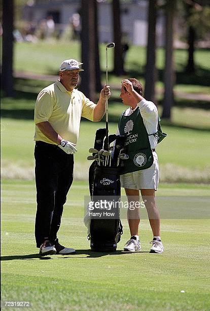 Jesse Ventura with his caddie during the Celebrity Golf Campionships at the Edgewood Tahoe Golf Course in Stateline, Nevada. Mandatory Credit: Harry...