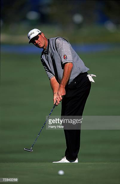 Mario Lemieux putts the ball during the Celebrity Golf Campionships at the Edgewood Tahoe Golf Course in Stateline Nevada Mandatory Credit Harry How...