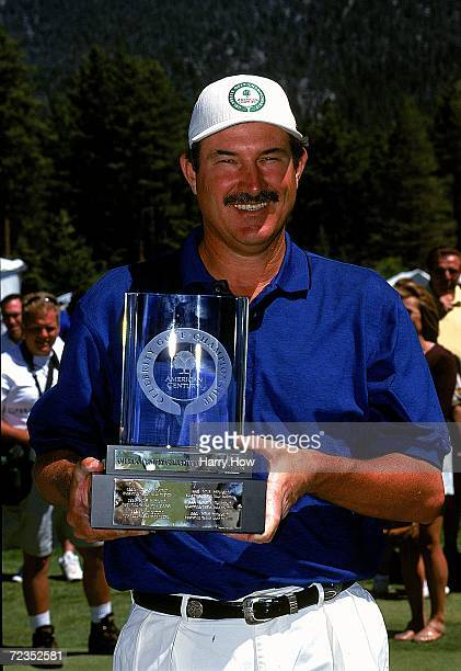 Rick Rhoden poses with his trophy during the Celebrity Golf Campionships at the Edgewood Tahoe Golf Course in Stateline Nevada Mandatory Credit Harry...