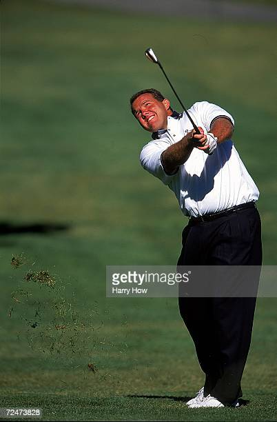 Stan Humphries watches the ball after hitting it during the Celebrity Golf Campionships at the Edgewood Tahoe Golf Course in Stateline Nevada...