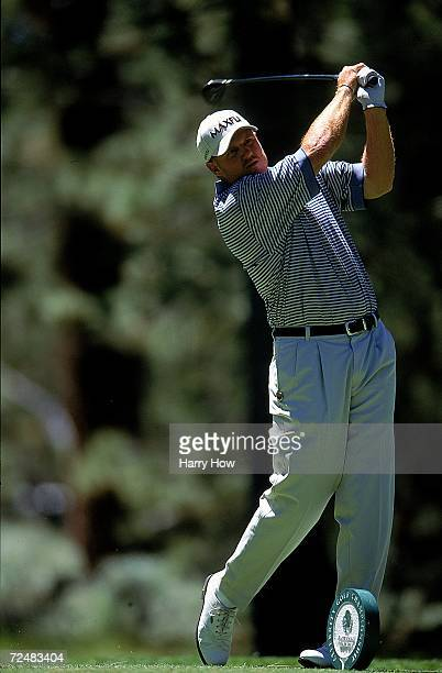 Trent Dilfer watches the ball after hitting it during the Celebrity Golf Campionships at the Edgewood Tahoe Golf Course in Stateline Nevada Mandatory...