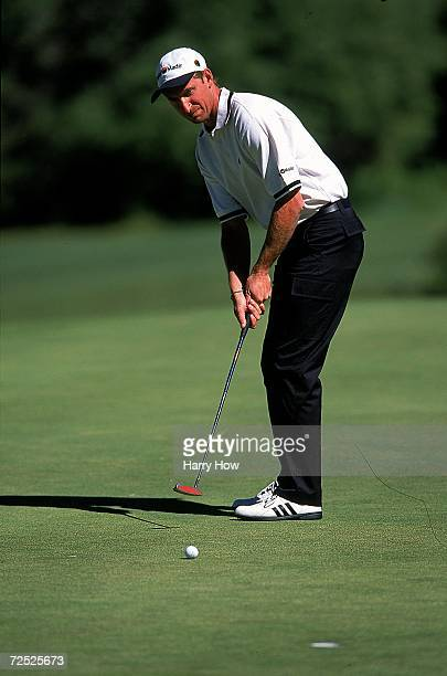 Wayne Gretzky putts the ball during the Celebrity Golf Campionships at the Edgewood Tahoe Golf Course in Stateline Nevada Mandatory Credit Harry How...