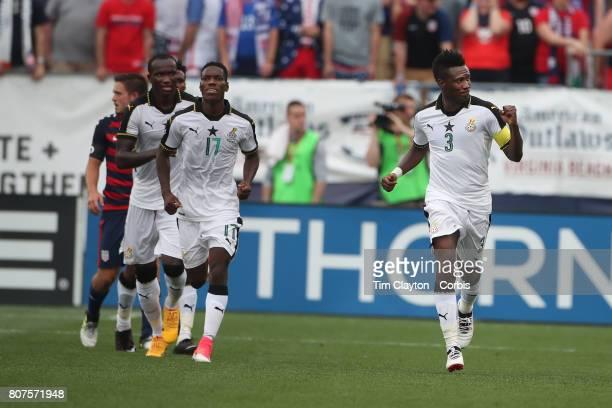 Asamoah Gyan of Ghana celebrates after scoring a goal during the United States Vs Ghana International Soccer Friendly Match at Pratt Whitney Stadium...