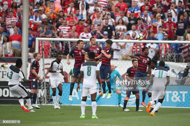 Asamoah Gyan of Ghana score from a free kick during the United States Vs Ghana International Soccer Friendly Match at Pratt Whitney Stadium on July...