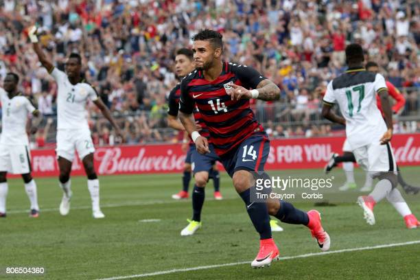 Dom Dwyer of the United States celebrates scoring on debut during the United States Vs Ghana International Soccer Friendly Match at Pratt Whitney...