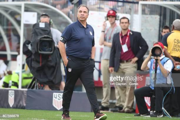 United States head coach Bruce Arena on the sideline during the United States Vs Ghana International Soccer Friendly Match at Pratt Whitney Stadium...