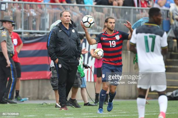 July 1st: United States head coach Bruce Arena on the sideline watching Graham Zusi of the United States take a throw in during the United States Vs...