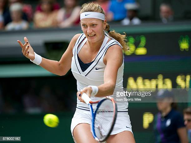 July 2 2011 Petra Kvitova of Czech Republic raises her arms in celebration after defeating Russian's Maria Sharapova in the final at The Wimbledon...